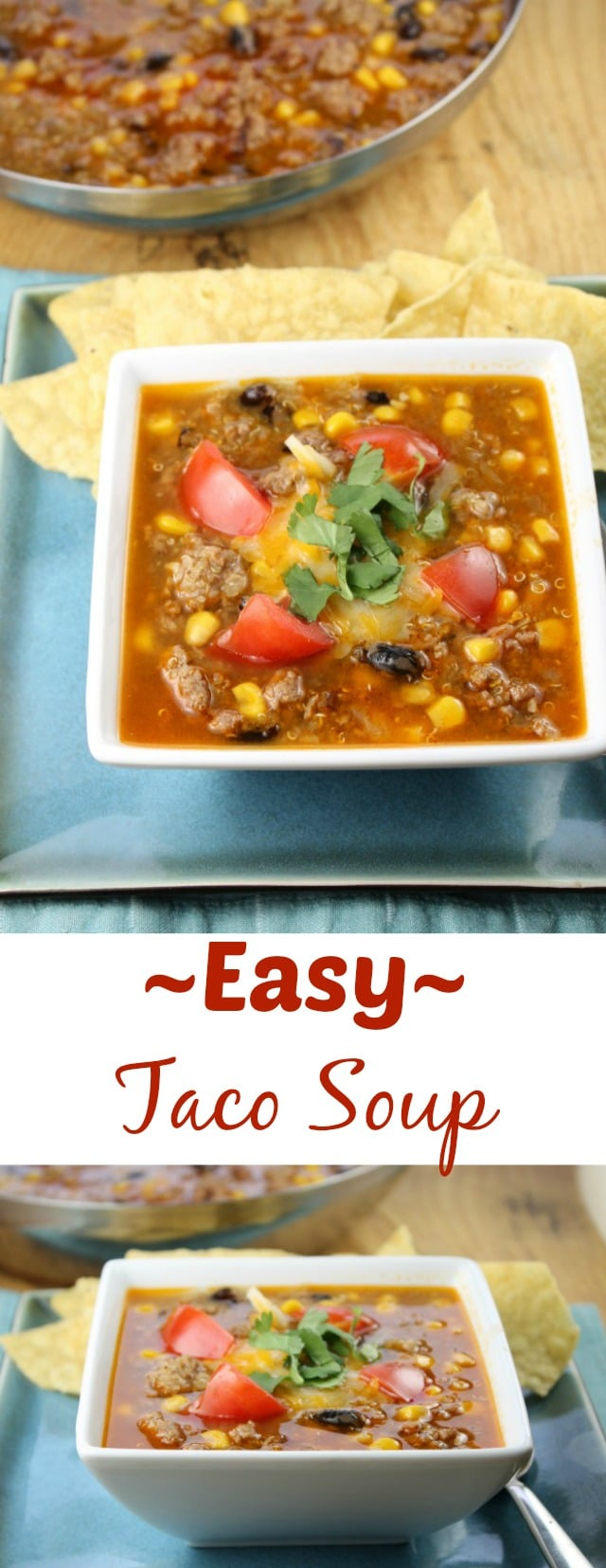 Easy Taco Soup is a family favorite dinner idea that is perfect for busy weeknights! From Miss in the Kitchen