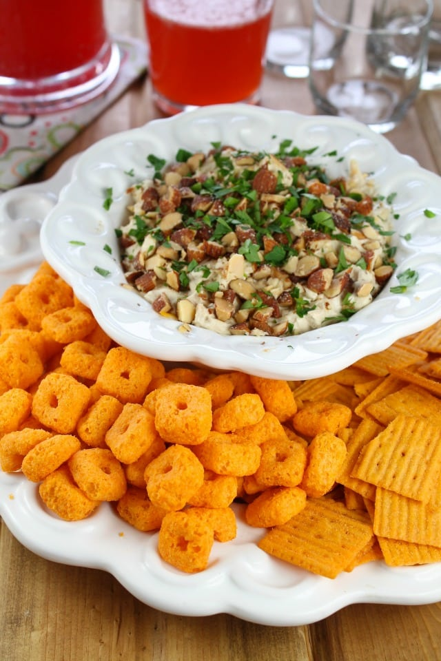 Bacon Cheese Ball Dip from Miss in the Kitchen  #BigGameSnacks #ad