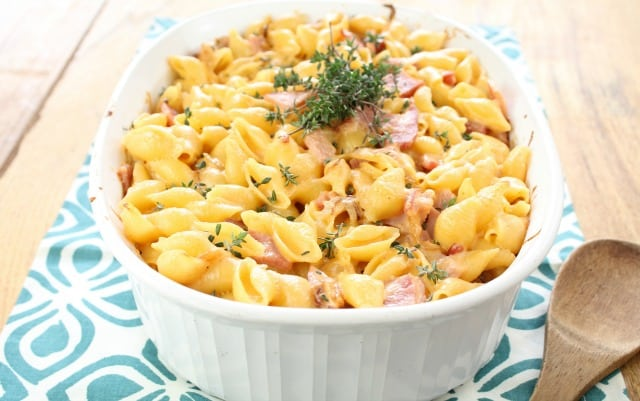 Ham and Garlic Cheddar Pasta Bake from Miss in the Kitchen