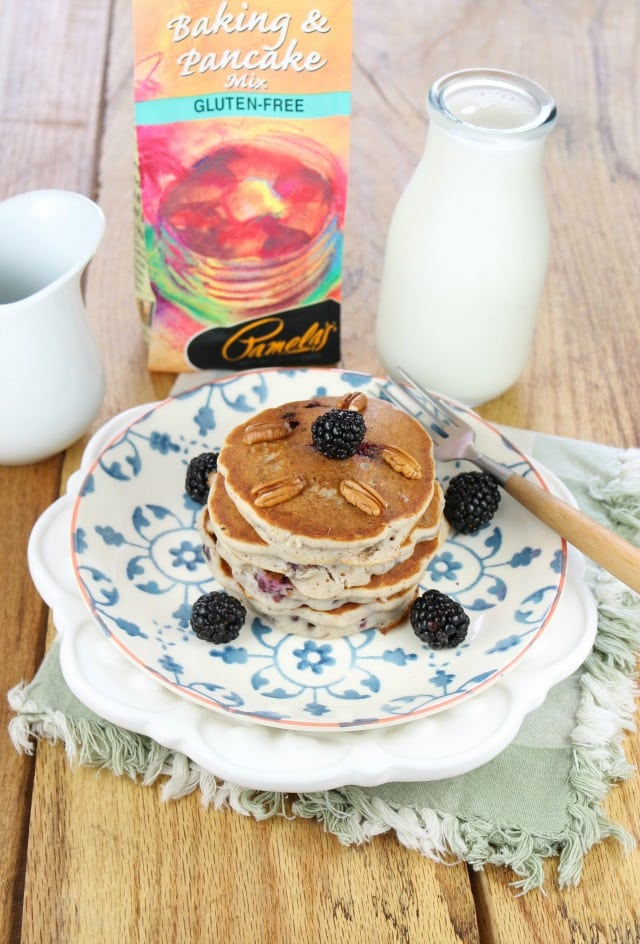 Gluten Free Blackberry Pecan Pancakes with Pamela's Baking Mix |  Miss in the Kitchen