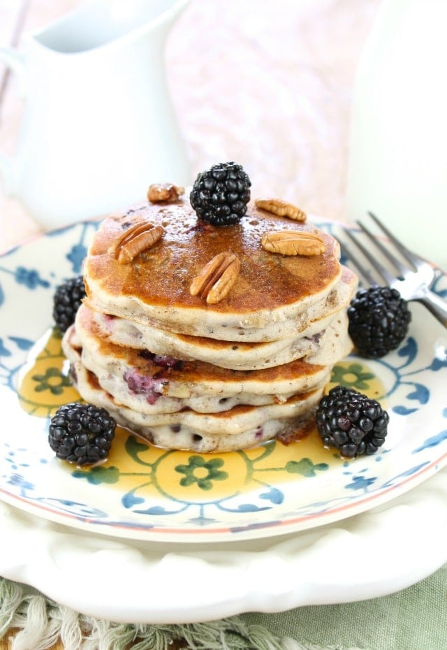 Gluten Free Blackberry-Pecan Pancakes from missinthekitchen.com