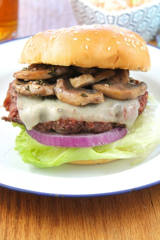 Gourmet Burgers with Red Wine Braised Mushrooms Recipe from Miss in the Kitchen