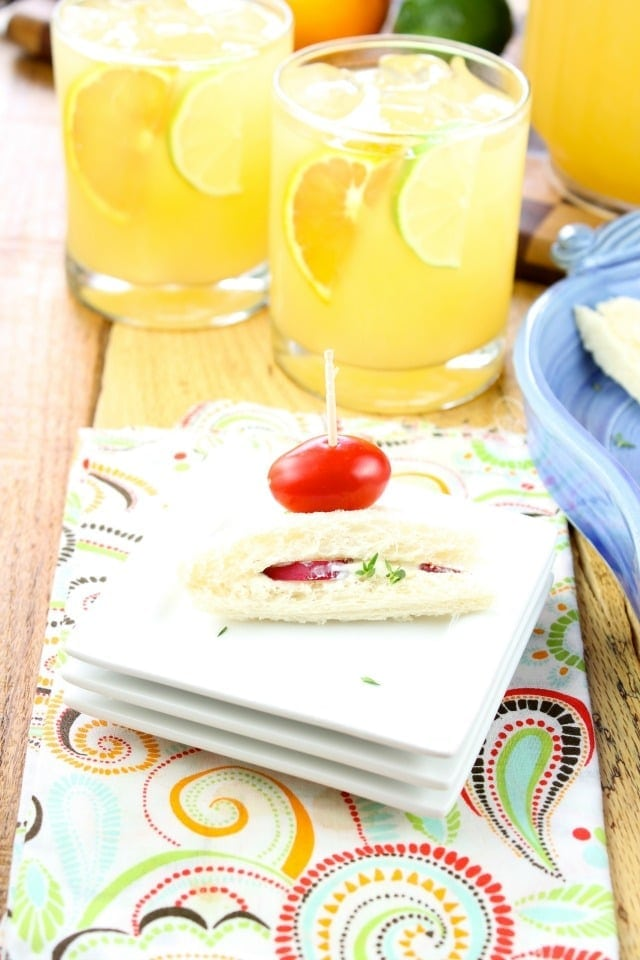 Zesty Punch Sippers and Radish Sandwiches are easy to put together for last minute guests Recipes from Miss in the Kitchen