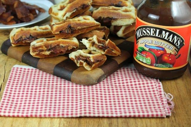 Musselman's Apple Butter and Bacon Stuffed Waffles - missinthekitchen