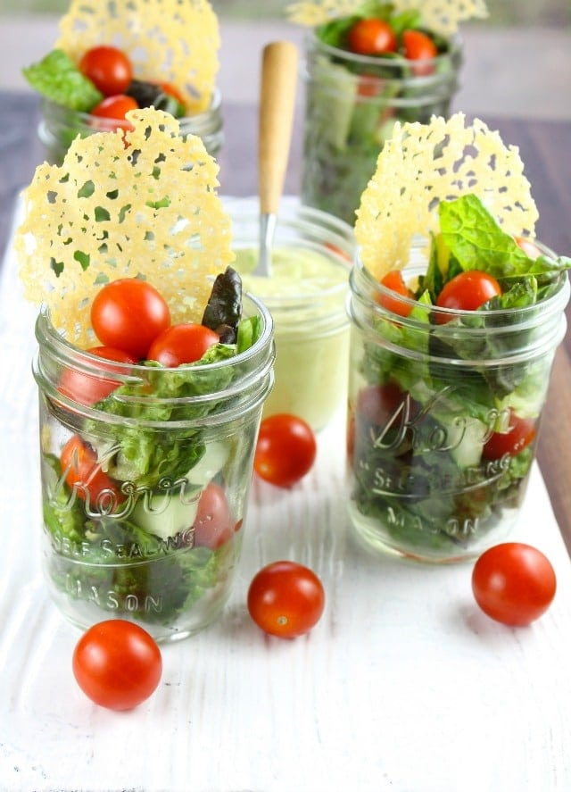Salad in Jars for summer with Dubliner Cheese Crisps and Avocado Dressing ~ recipe from missinthekitchen.com