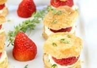 Strawberries and Cream Puff Pastry Bites