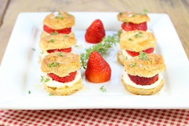 Strawberries and Cream Puff Pastry Bites from Miss in the Kitchen