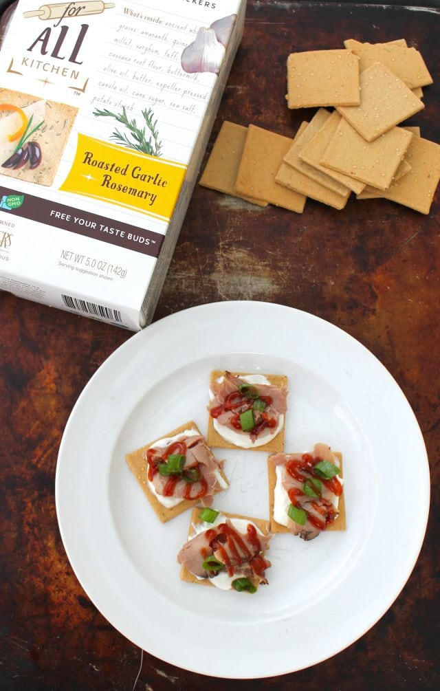 Easy Roast Beef Appetizers from Miss in the Kitchen with Partners Gluten Free Crackers