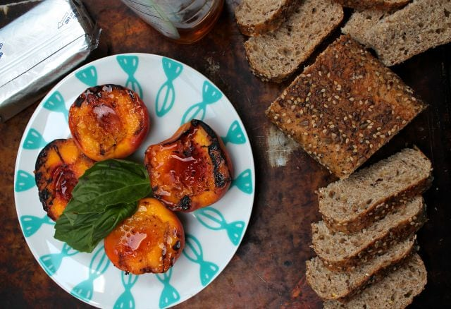 Grilled Peaches, Basil and Honey App } Miss in the Kitchen