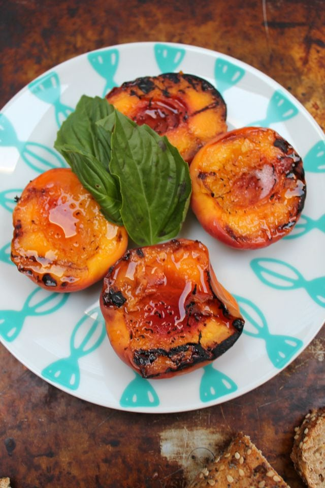 Grilled Peaches, Basil and Honey Appetizer - Miss in the Kitchen