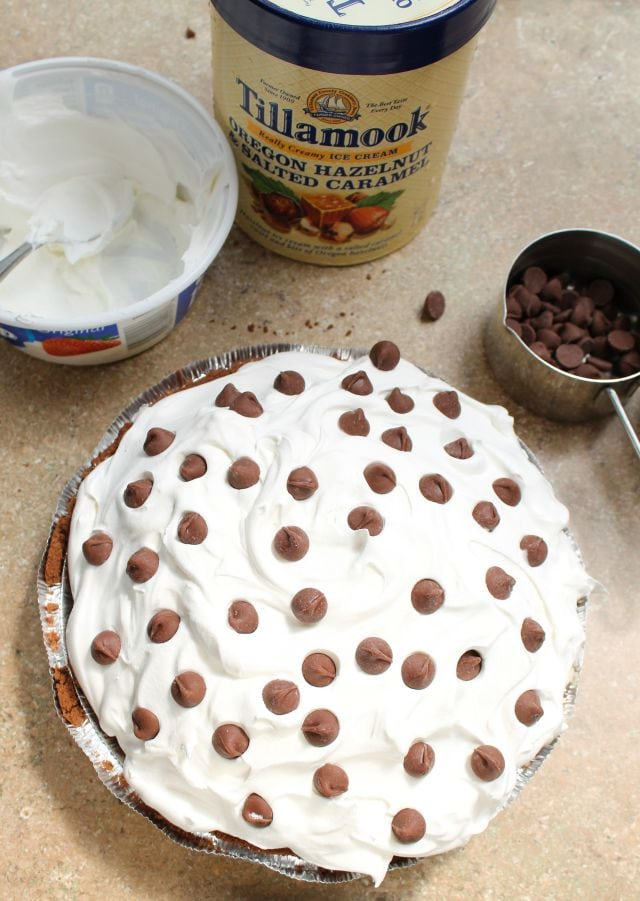 Salted Caramel Hazelnut Ice Cream Pie from missinthekitchen