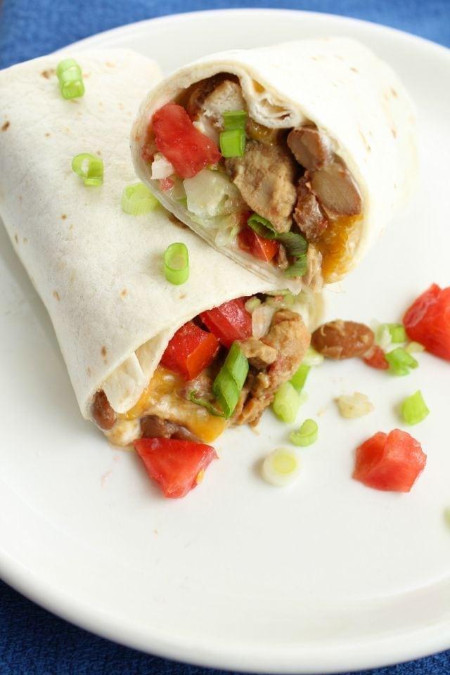 5 Ingredient Mexican Chicken Burritos Slow Cooker Recipe ~ missinthekitchen