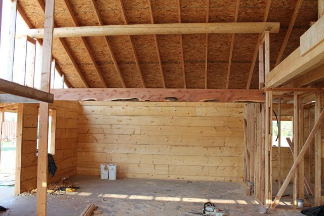 Cedar Beam that frames in kitchen  Log Cabin Saturday #4 Miss in the Kitchen