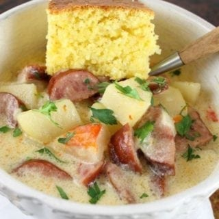 Cheesy Smoked Sausage and Idaho Potato Soup ~ Slow Cooker Recipe from missinthekitchen.com