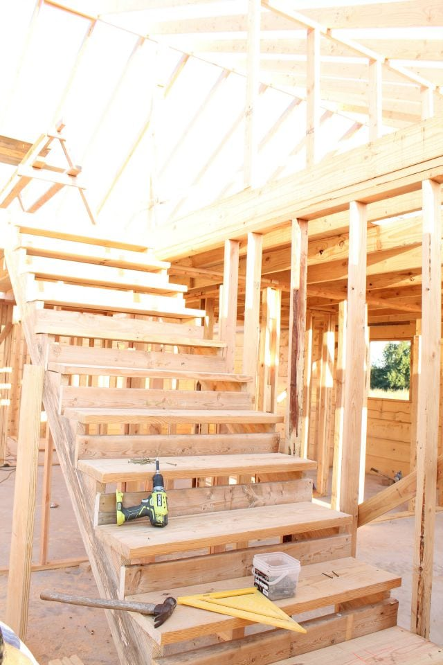 Framing the stairs Log Cabin Saturday #3 Miss in the Kitchen