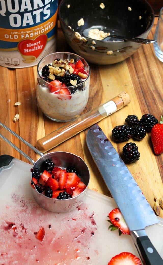Overnight Oats berries & walnuts  missinthekitchen