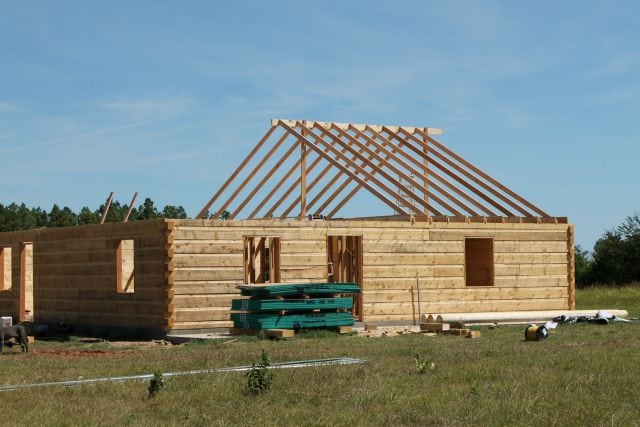 Rafters going up Log Cabin Saturday #3 Miss in the Kitchen