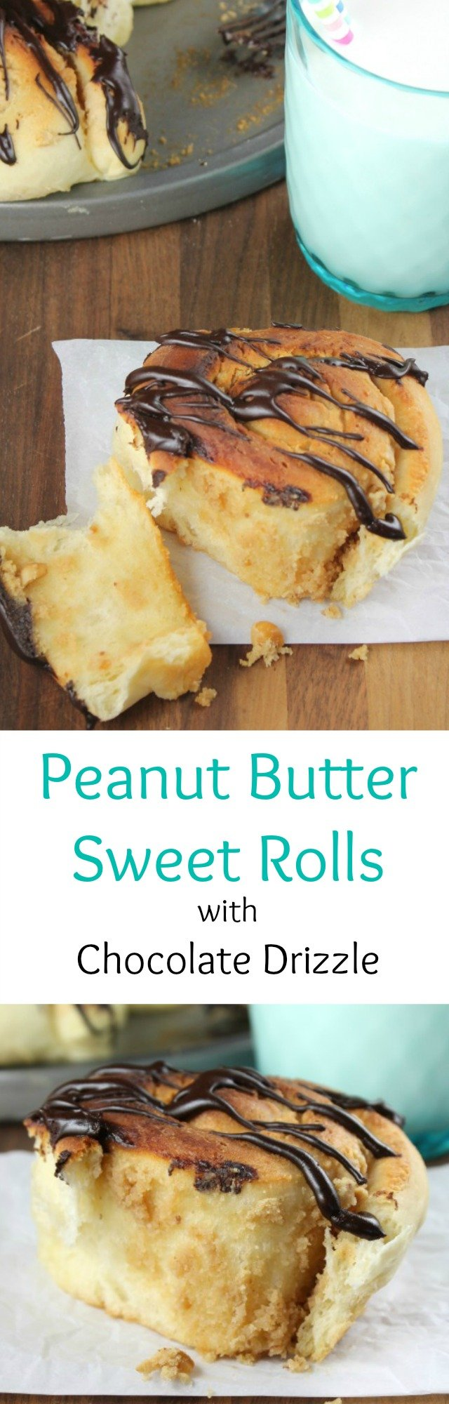 Recipe for Peanut Butter Sweet Rolls with Chocolate Drizzle from Miss in the Kitchen