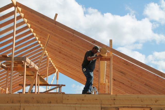 Setting the beams over living area Log Cabin Saturday #3 Miss in the Kitchen