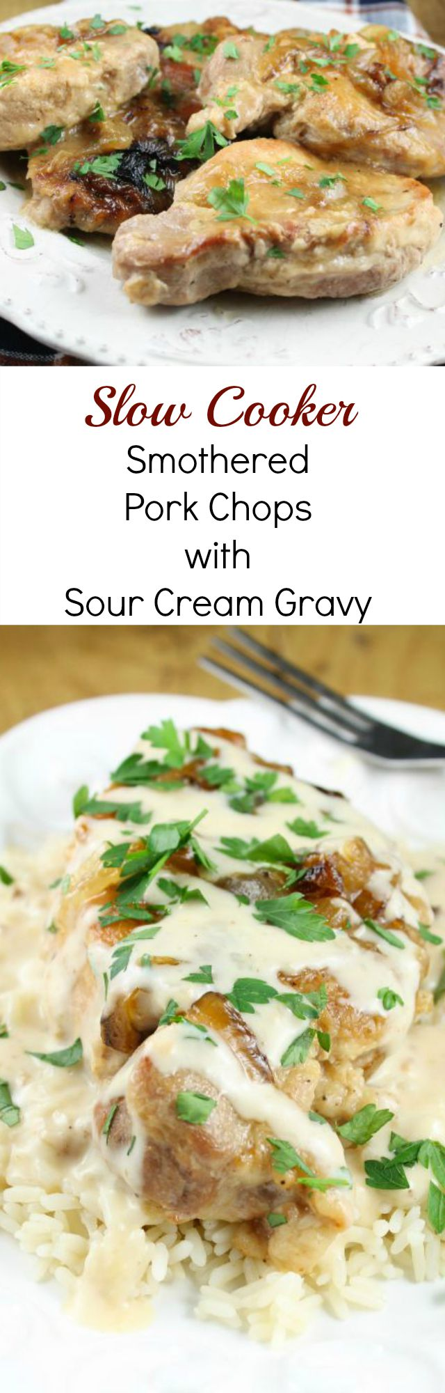Slow Cooker Smothered Pork Chops with Sour Cream Gravy Recipe Found at missinthekitchen.com #ad