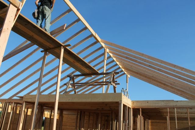 View from inside as rafters go on Log Cabin Saturday #3 Miss in the Kitchen