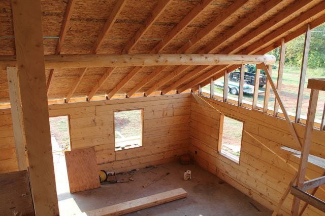 View of Living Room from Loft  Log Cabin Saturday #4 Miss in the Kitchen