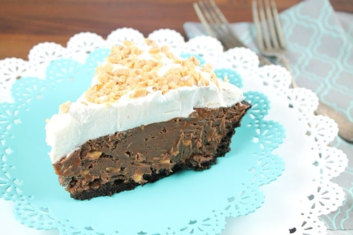 Milk Chocolate & Toffee Fudge Pie ~ MissintheKitchen