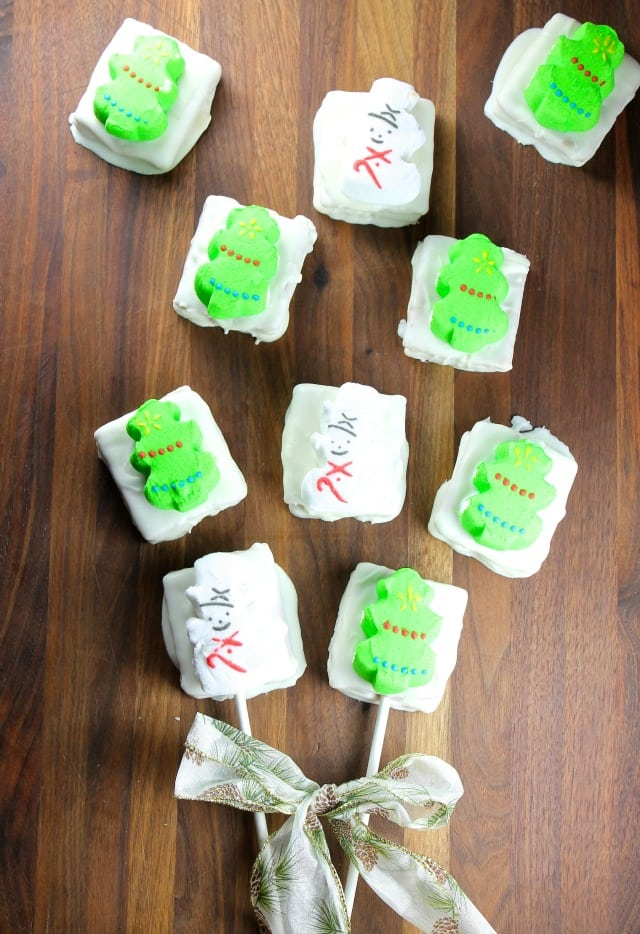 PEEPS White Chocolate Peanut Butter Cookie Sandwiches Recipe from Miss in the Kitchen #peepsonality #ad