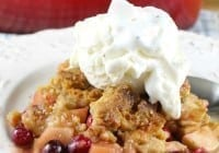 Warm Apple and Cranberry Almond Crumble