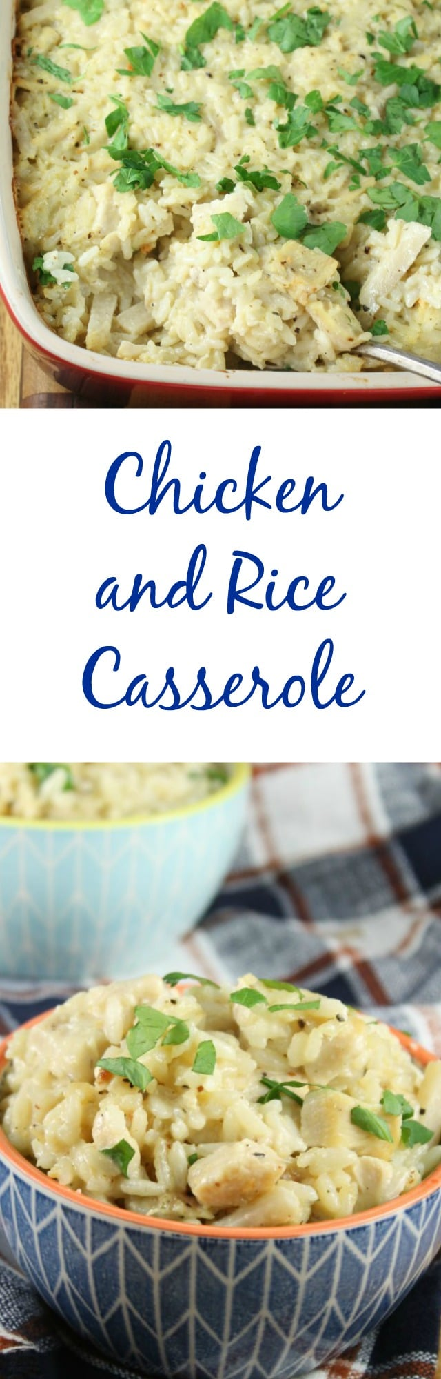 Classic Chicken and Rice Casserole Recipe from scratch (no can soups) is delicious comfort food that the whole family will love! #ProgressiveEats from MissintheKitchen.com