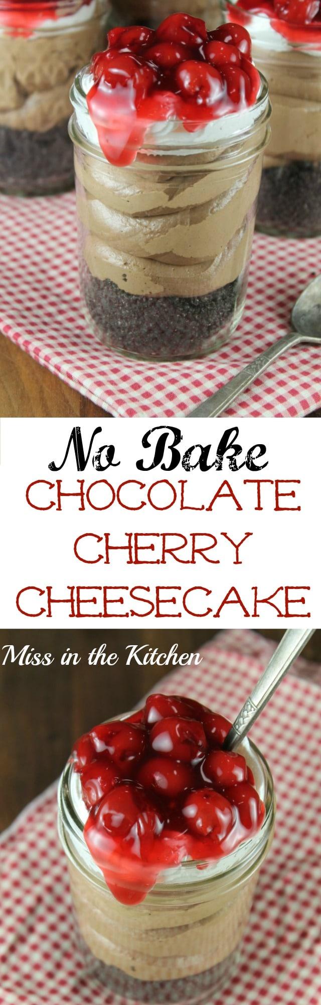 No Bake Chocolate Cherry Cheesecake in a Jar for Wayfair #CherrySweet National Cherry Month.  Recipe found at MissintheKitchen.com #Sponsored