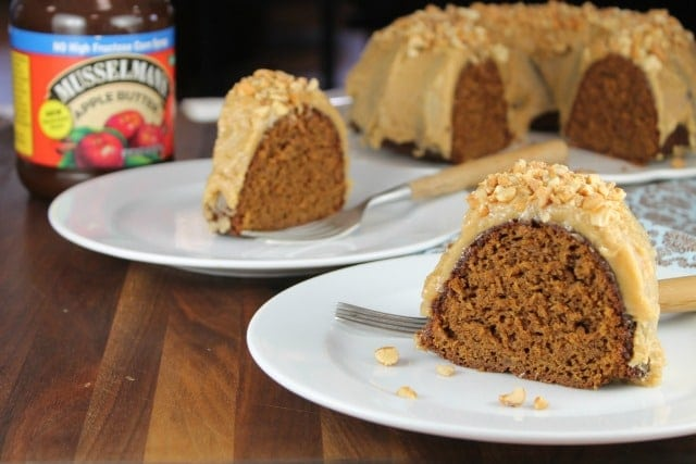 Apple Butter Bundt Cake with Peanut Butter Icing with Musselman's Apple Butter from MissintheKitchen