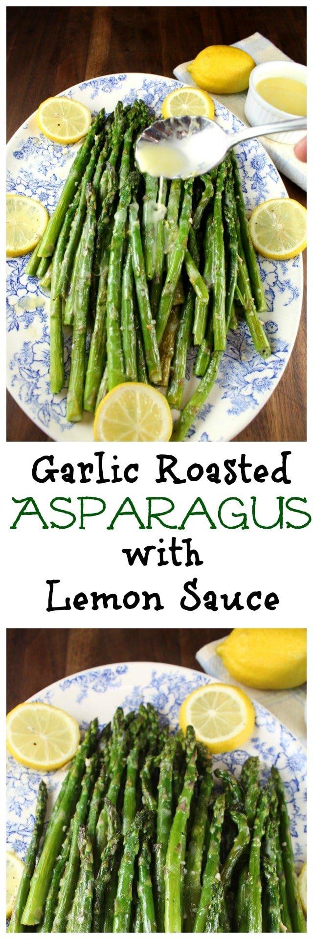 Garlic Roasted Asparagus with Lemon Sauce Recipe from MissintheKitchen.com