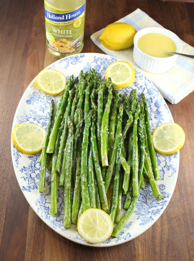 Garlic Roasted Asparagus with Lemon Sauce with Holland House Cooking Wine from MissintheKitchen.com