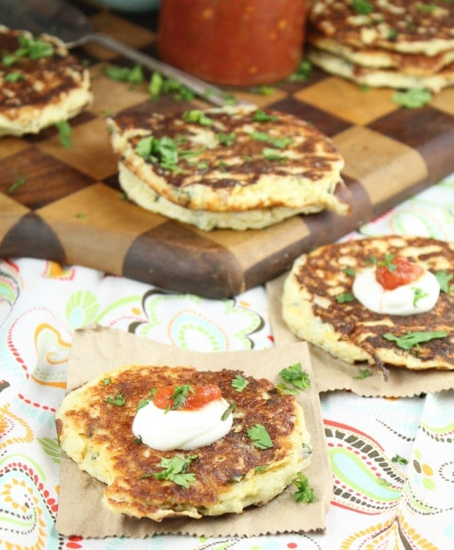 Tex- Mex Potato Pancakes using Bob Evans Garlic Mashed Potatoes ~ Recipe from MissintheKitchen.com