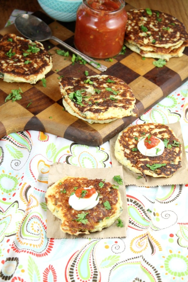 Tex Mex Potato Pancakes make a wonderful side for any meal. Recipe from MissintheKitchen.com