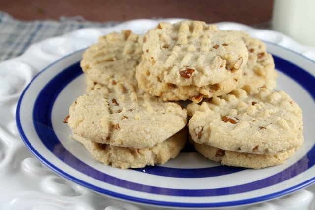 Plate of Pecan Sandies Cookies from Miss in the Kitchen