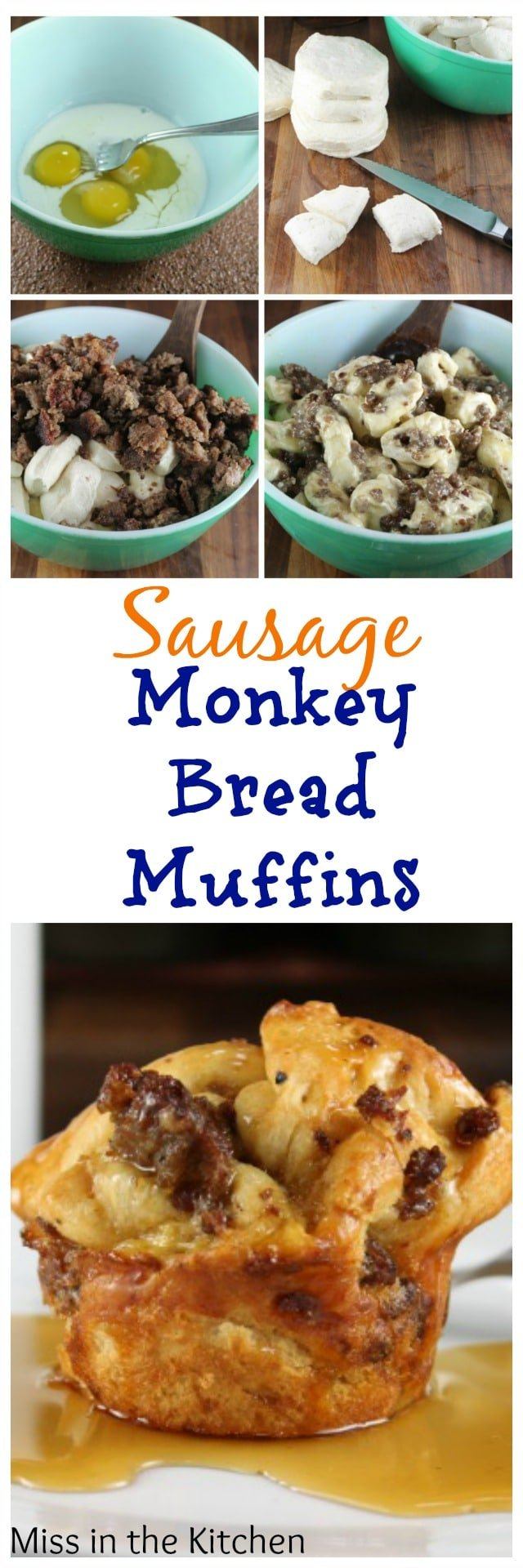 Sausage Monkey Bread Muffins Recipe from MissintheKitchen.com