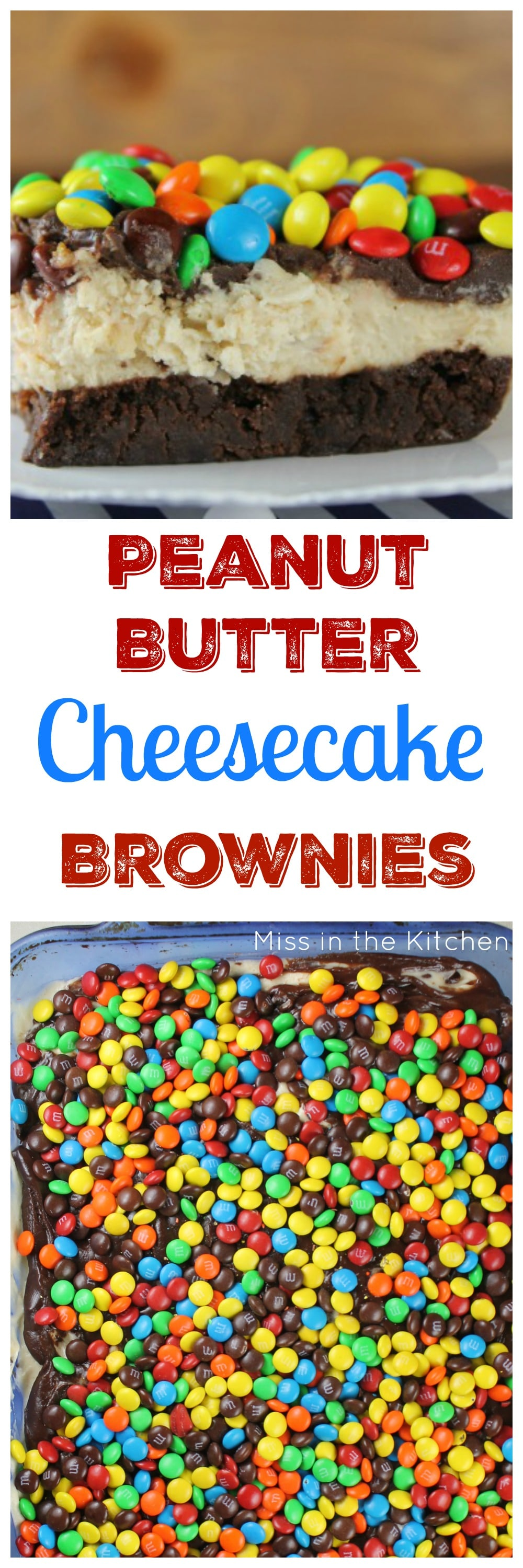 Peanut Butter Cheesecake Brownies Recipe found at MissintheKitchen.com
