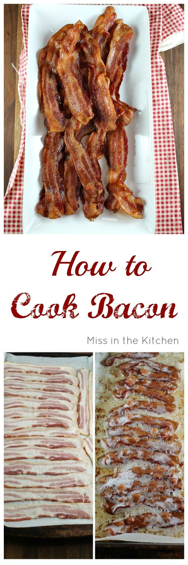 How to Bacon in the Oven. Easy Method from MissintheKitchen.com