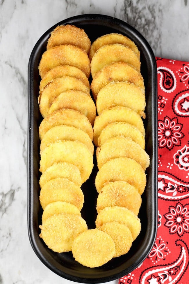 Tray of Fried Squash with cornmeal crust