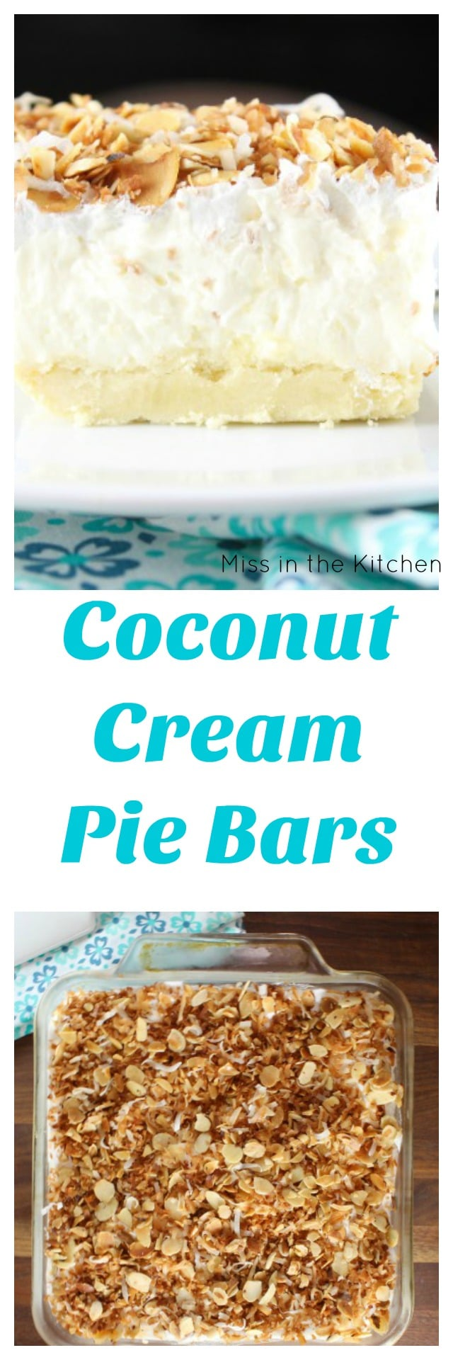 Coconut Cream Pie Bars Recipe found at MissintheKitchen.com