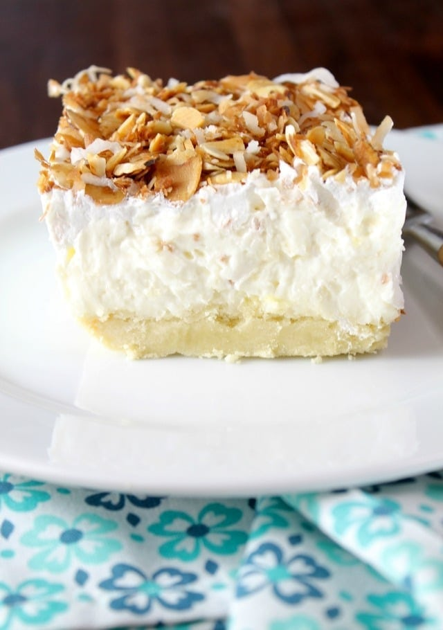 Coconut Cream Pie Bars Dessert Recipe from MissintheKitchen.com