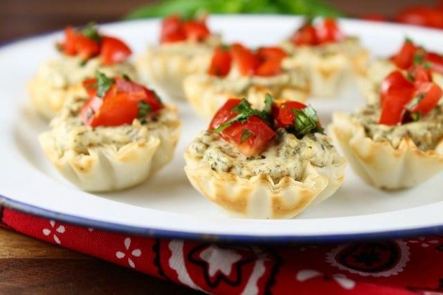 Mini Tomato Pesto Tarts appetizer recipe from MissintheKitchen.com