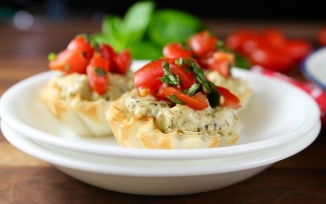 Mini Tomato Pesto Tarts Recipe from MissintheKitchen #ad #BBQBites