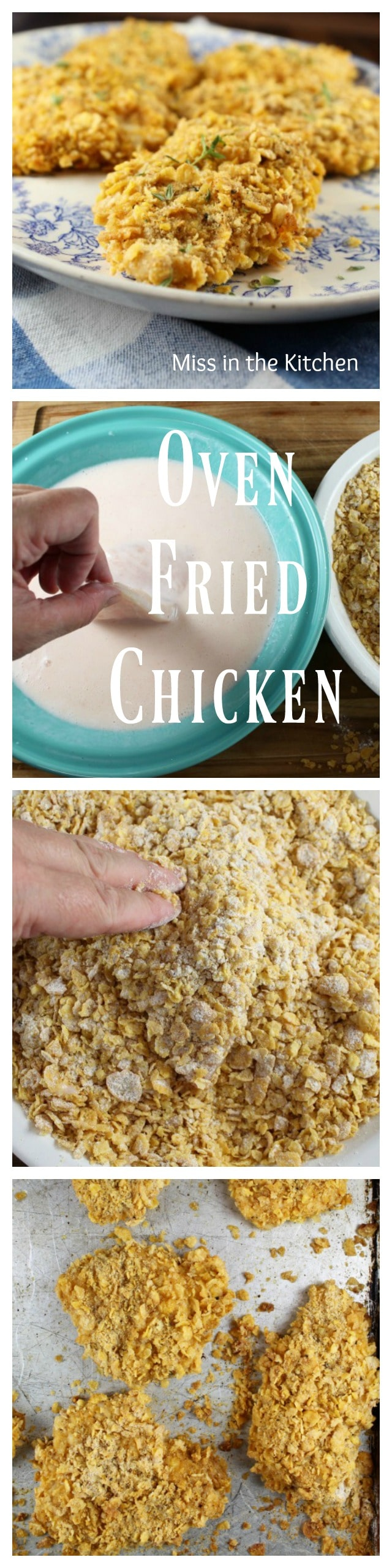 Oven Fried Chicken Recipe - a healthy twist on your favorite fried chicken dinner. From MissintheKitchen.com