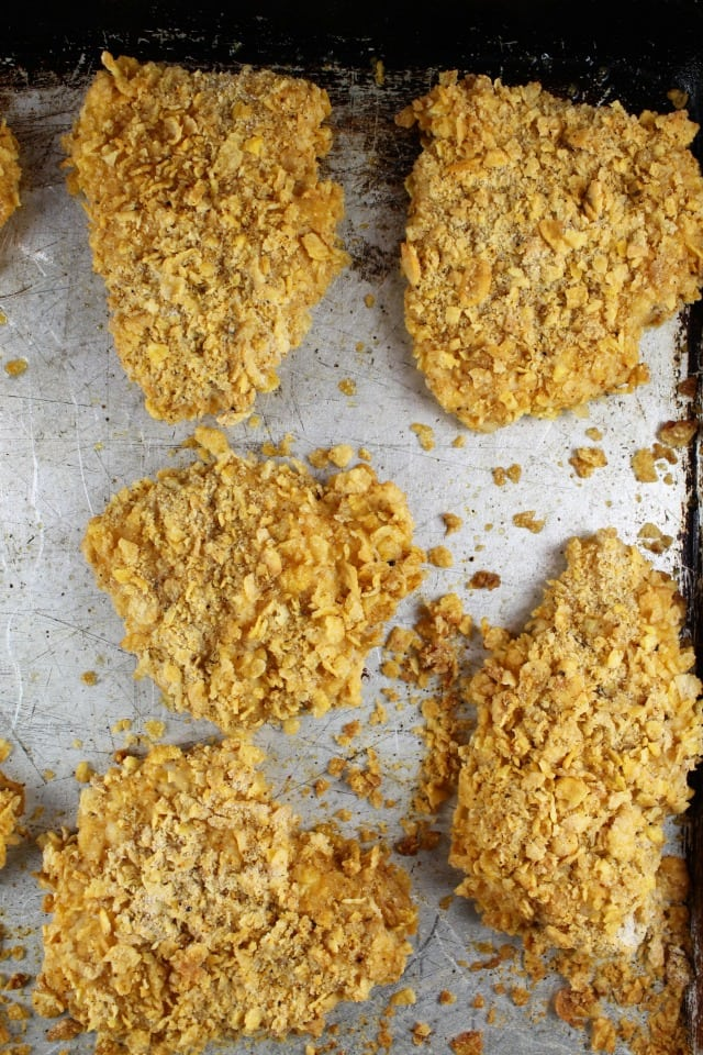 Cornflake Crusted Crunchy Oven Fried Chicken Recipe from MissintheKitchen.com #ad