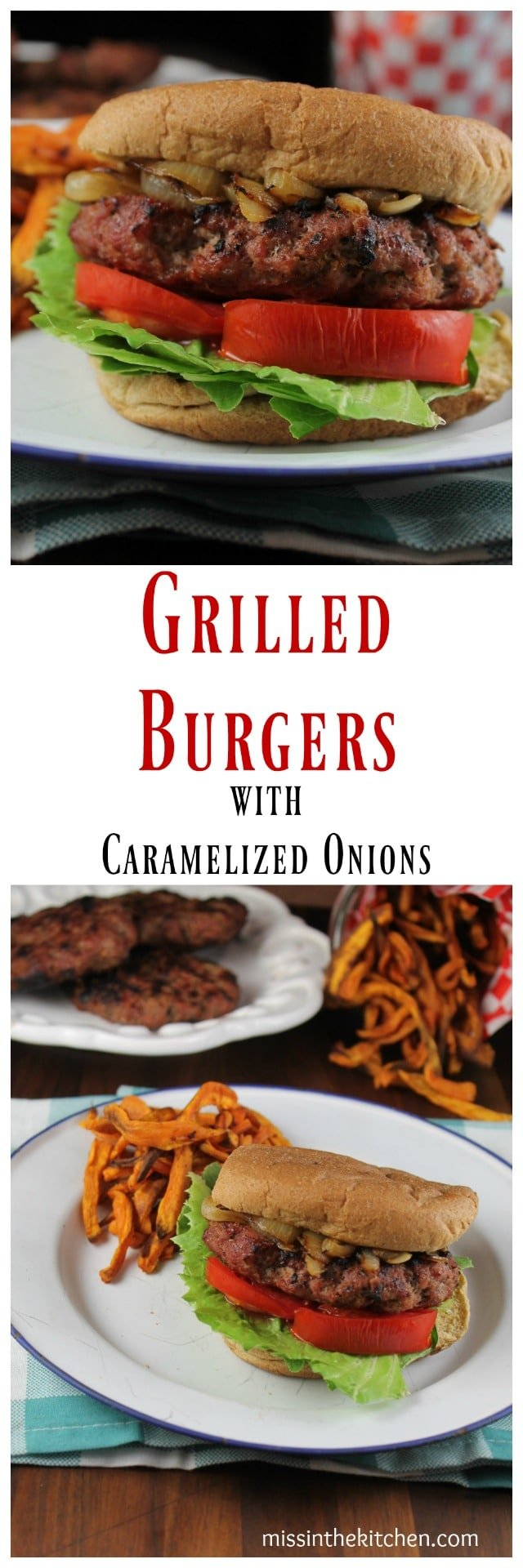Grilled Burgers with Caramelized Onions Recipe ~ Healthy Dinner idea from TCHS Cookbook ~ MissintheKitchen.com #ad