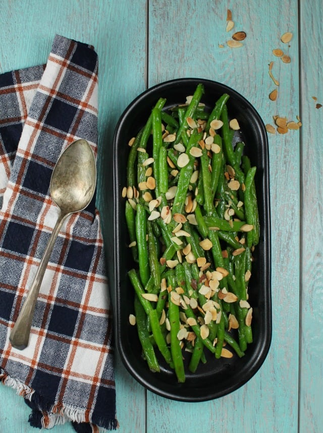 Almond Green Beans Recipe with Barber Foods Stuffed Chicken Breasts from MissintheKitchen.com #ad