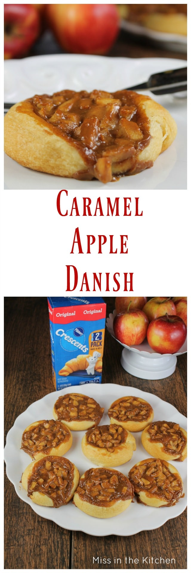 Caramel Apple Danish Recipe perfect for the holidays or anytime treat the whole family will love. MissintheKitchen.com #ad